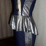 Стильное, шикарное вечернее платье с баской!М!46-й!Новое!На Новый год.
