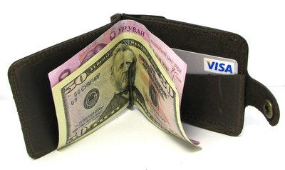 Кожаный кошелек Зажим для денег с отделом для мелочи Коричневый