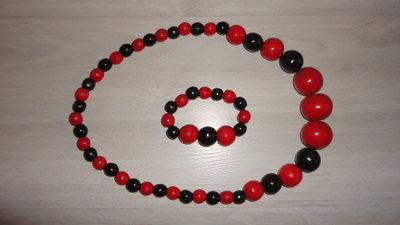 Бусы и браслет - цвет красно-черный