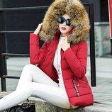 Куртка женская теплая - Енот мех натуральный зимняя пуховик парка пальто термо