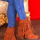 Ботинки бахрома шнурки